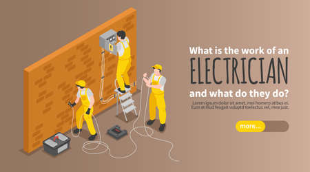 Electrician Isometric Poster