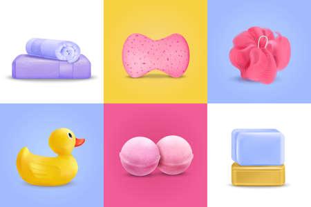 Bath Wash Design Concept Set Vector Illustration