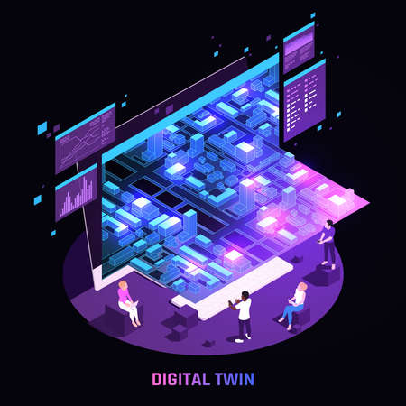 Digital Twin Technology Isometric Image