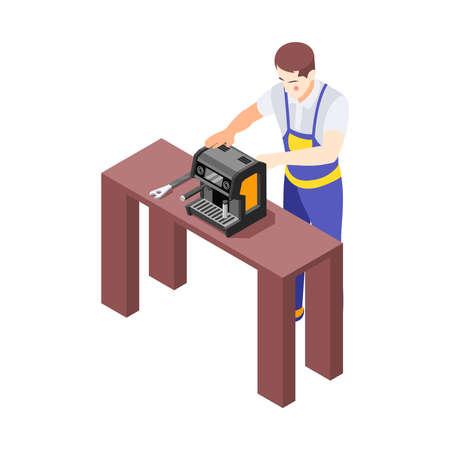 Isometric Repairman Illustration