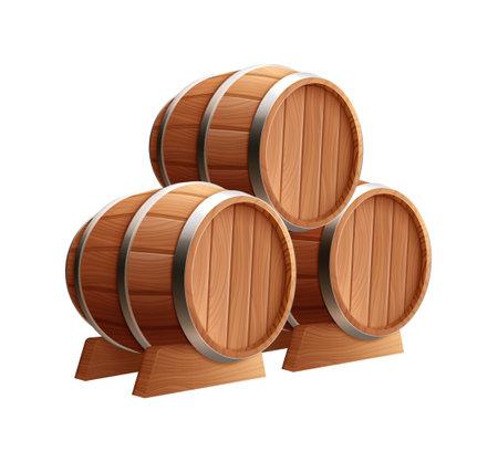 Barrels Realistic Icon