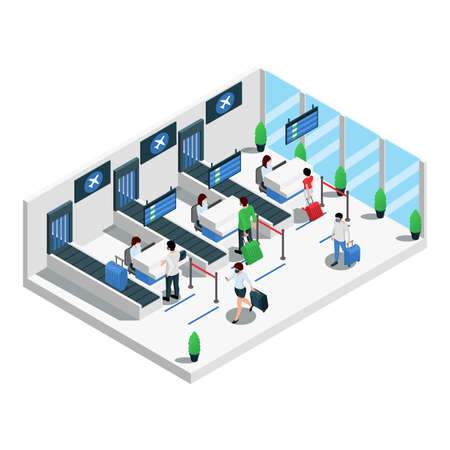 Airport Terminal Isometric Composition