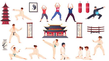 Martial Arts Flat Set Vector Illustration