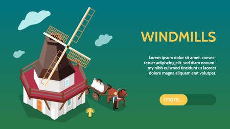 Windmills Isometric Web Banner Vettoriali