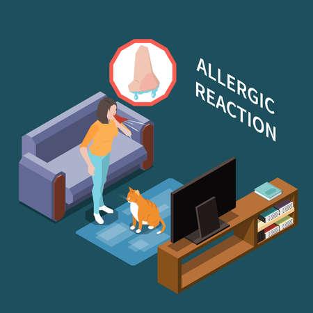 Allergy Isometric Composition Иллюстрация