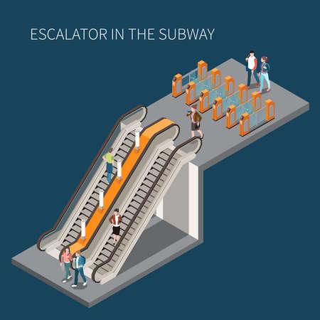 Subway Escalator Isometric Element