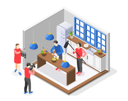 Cooking Show Colored Isometric Composition Иллюстрация