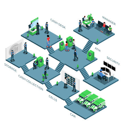 Bank Branch Rooms Isometric Composition
