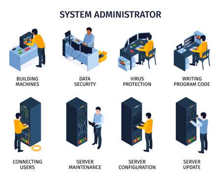 System Administrator Composition Set Иллюстрация