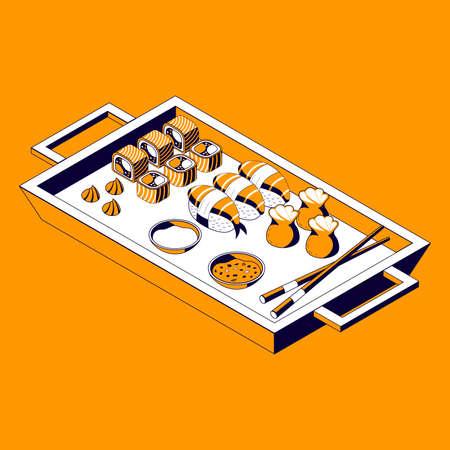 Asian Food Menu Isometric Composition