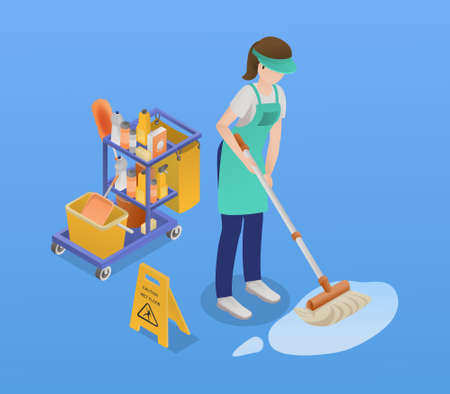 Isometric Professional Cleaning Service Composition Иллюстрация