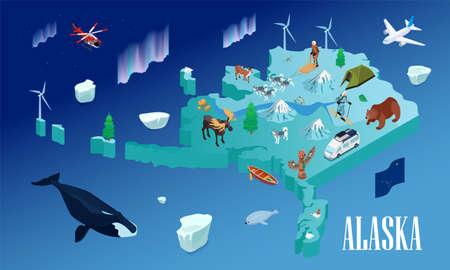 Alaska Travel Isometric Poster