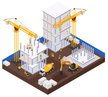Construction Industry Isometric Concept
