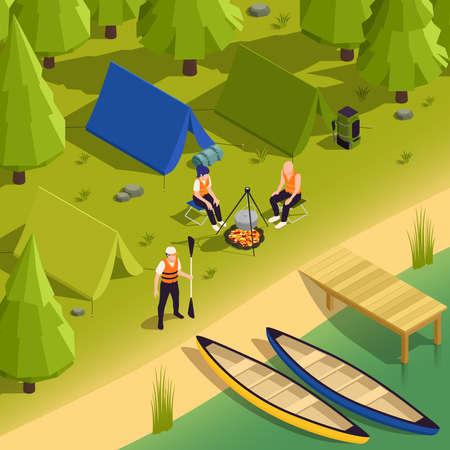 Canoeing Kayaking Campsite Isometric View