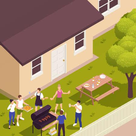 Family Picnic Barbecue Isometric Иллюстрация