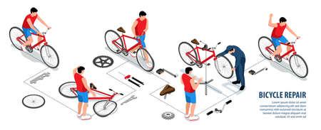 bBicycle Repair Isometric Infographics Иллюстрация
