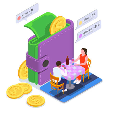 Financial Education Literacy Colored Isometric Composition