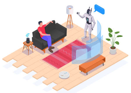 People Using Interfaces Isometric Composition
