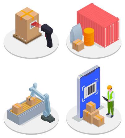 Isometric Modern Warehouse Icon Set