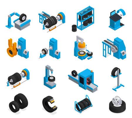 Tire Production Service Isometric Icon Set Иллюстрация