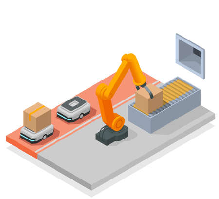Modern Warehouse Colored Isometric Composition Иллюстрация