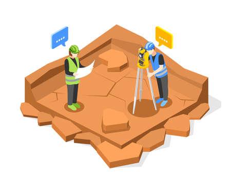 Pit Measurements Isometric Composition Иллюстрация