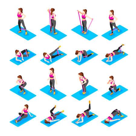 Female Exercises Icon Set