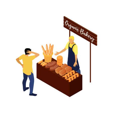 Organic Bakery Stall Vektoros illusztráció