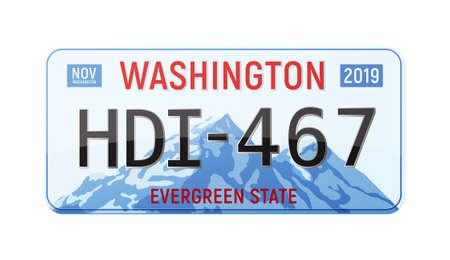 Realistic License Plate Иллюстрация
