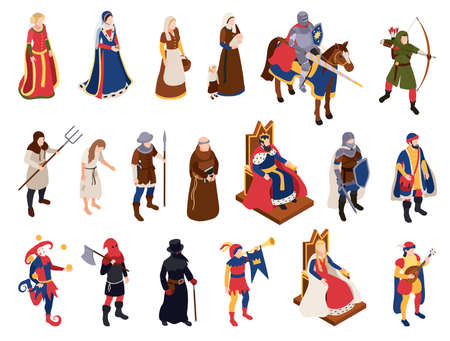 Medieval Characters Set Vecteurs