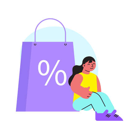 Shopping Discount Girl Composition Иллюстрация