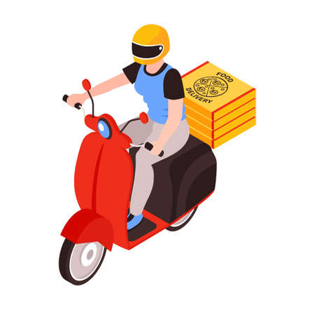 Female Scooter Courier Composition