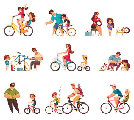 Cycle Family Icons Set Иллюстрация