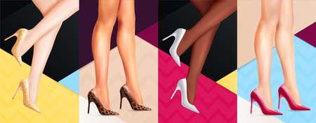 Women Legs Shoes Banners Иллюстрация