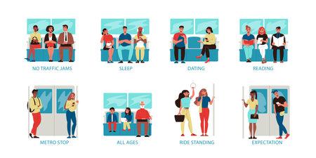 Flat Metro Compositions Иллюстрация