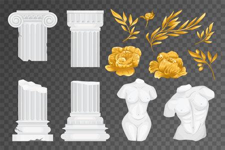 Antique Greek Flowers Transparent Icon Set