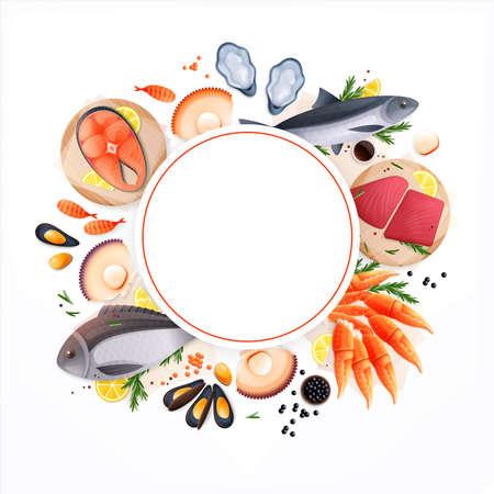 Seafood Circular Frame Background