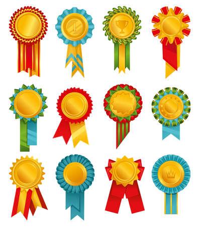 Rosettes Rewards Colored Icon Set