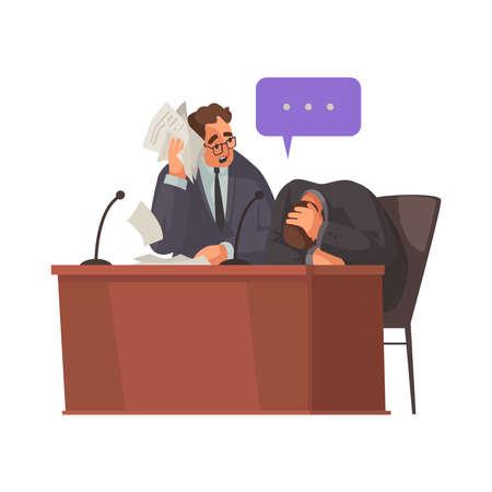 Unhappy Client Attorney Composition Иллюстрация