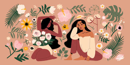 Women With Flowers Illustration