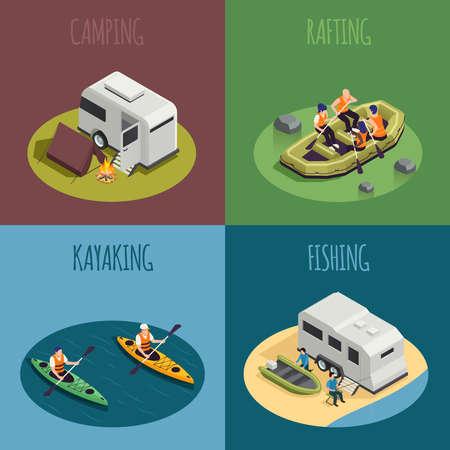 Rafting Kayaking isometric Concept