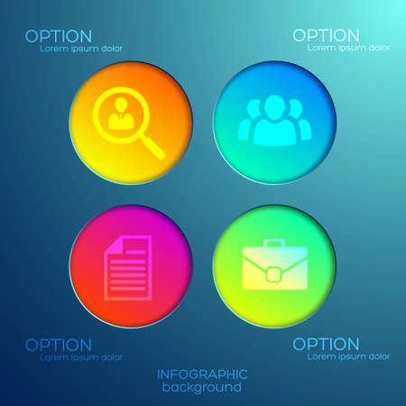 Abstract infographic concept with four options colorful round buttons and icons on light background isolated vector illustration