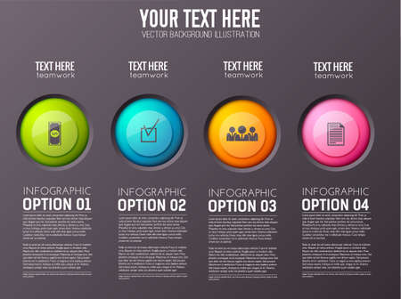 Business infographic concept with four isolated option columns with images of colorful buttons and appropriate text paragraphs vector illustration