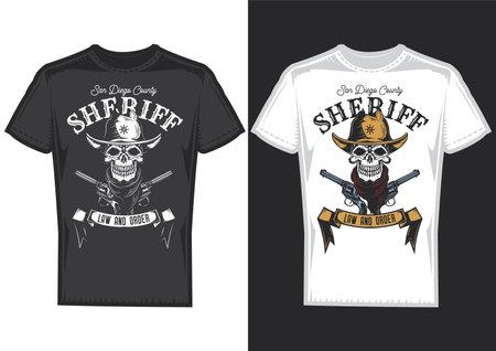 T-shirt design samples with illustration of a cowboy skull.