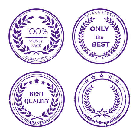 Circular Guarantee Label Set with Wreaths Isolated on White Background Illustration