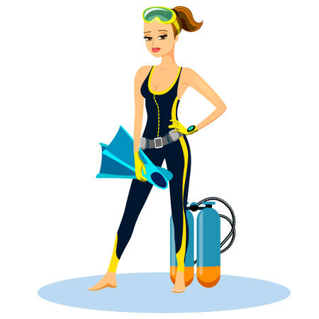 Beautiful athletic young scuba diver wearing a wetsuit with flippers and an aqualung  vector illustration