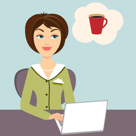 Vector illustration of an attractive young secretary sitting at her desk working on a laptop computer dreaming of a mug of refreshing hot coffee Ilustração