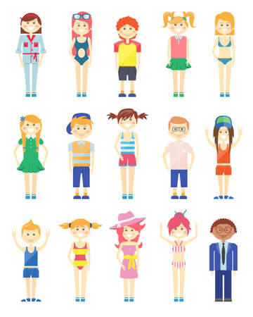 Various Smiling Boys and Girls Graphics with Various Features and Styles of Dress Vettoriali