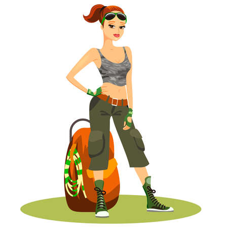 Beautiful young female backpacker in typical trendy touristy clothes with her sunglasses on her head standing in a confident pose with her hands on her hip alongside her backpack  vector clipart Illusztráció