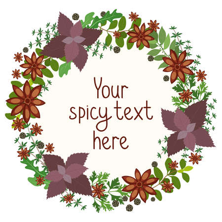Herbs and spices circular wreath with oregano  parsley  basil  rosemary  rocket  sage  thyme and peppercorns around central copyspace for your text  vector illustration Ilustração